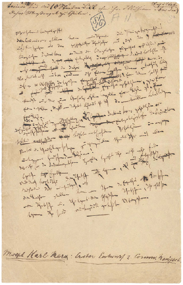 Page from the Communist Manifesto in Karl Marx's handwriting