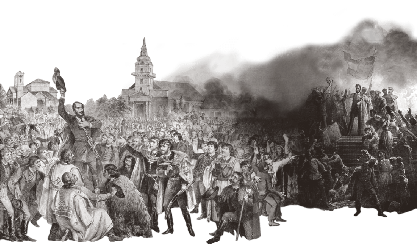 Composite image of Lajos Kossuth in a crowd and Sándor Petőfi on steps depicting the 1848 Hungarian Revolution