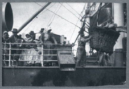 Hungarian emigrants at a port leaving on boat