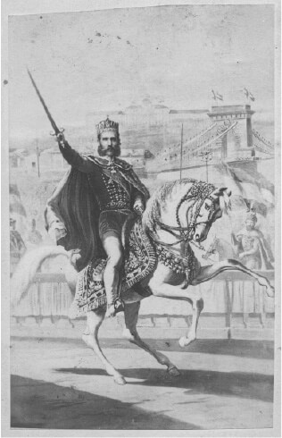 Depiction of Franz Joseph on a white horse during his coronation