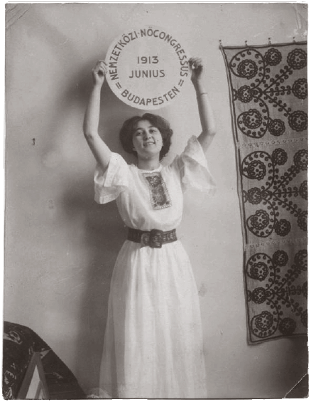 Hungarian poster for International Women's Congress in 1913 showing a woman with a round banner above her head