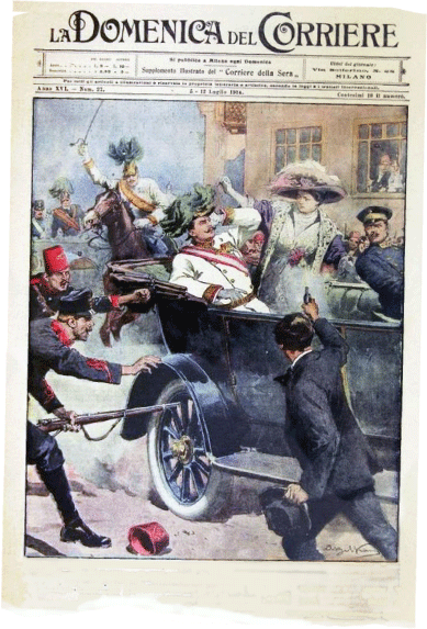 A drawing of Gavrilo Princip killing Archduke Francis Ferdinand in 1914