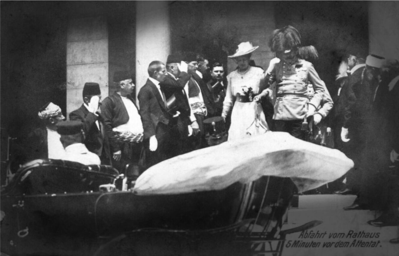 Archduke Franz Ferdinand and wife Sophie exiting steps in Sarajevo minutes before their assassination