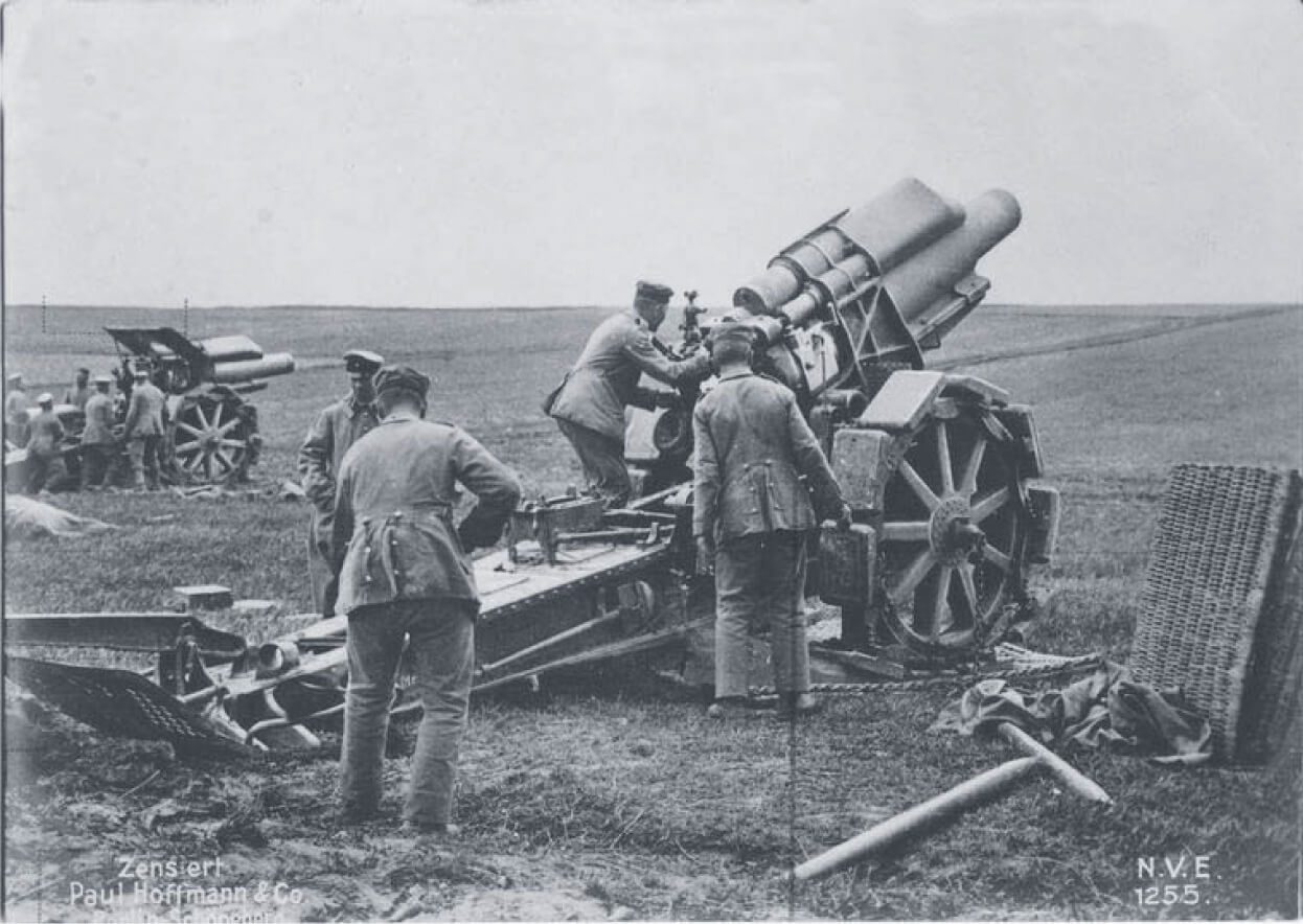 German soldiers with heavy mortars  around 1914