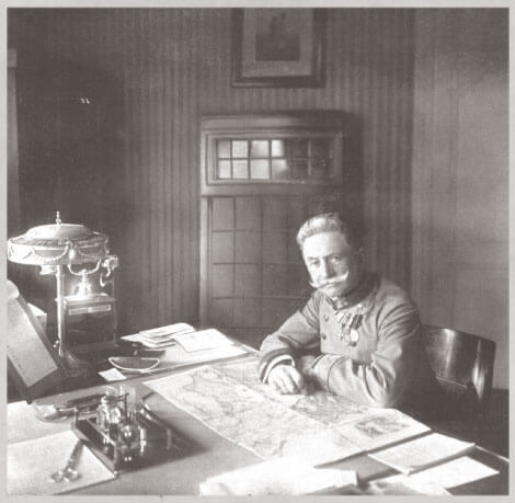 General Franz von Hötzendorf sitting at his desk in 1914