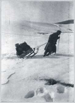 Austro-Hungarian soldier pulling sled in winter