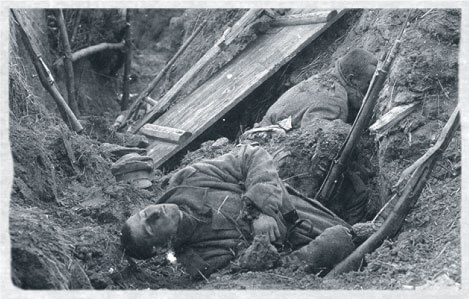 A dead Austro-Hungarian soldier in a trench