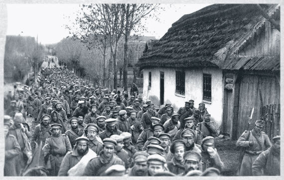 Hundreds of Russian prisoners of war marched through a village