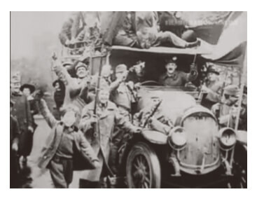 Revolutionary soldiers on a truck in Budapest during the Aster Revolution in October 1918