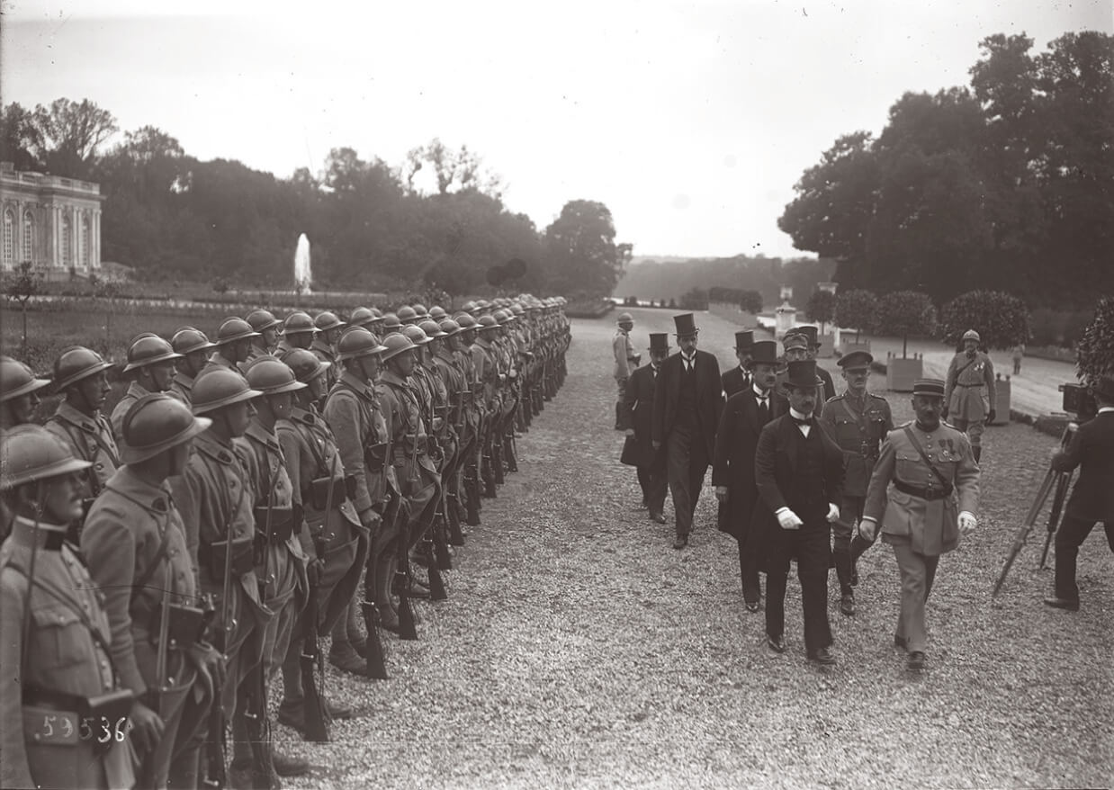 The Hungarian delegation entering the Trianon palace to sign the Treaty of Trianon on June 4 1920