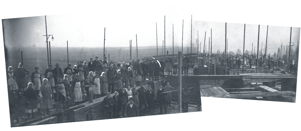 School construction in in Marcali Hungary in 1926