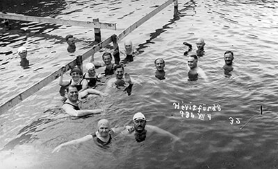 Swimmers in Héviz thermal lake in Hungary