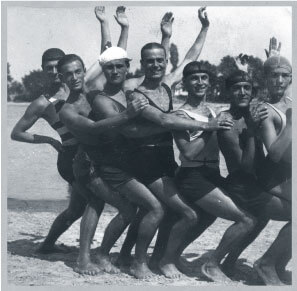 Upper middle class vacationers on Lake Balaton in bathing suit formation in 1928