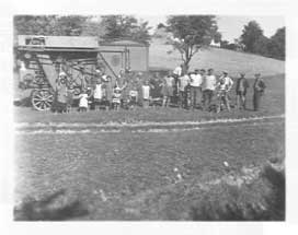 The Fábos family threshing machine in a field in rural Hungary in 1940