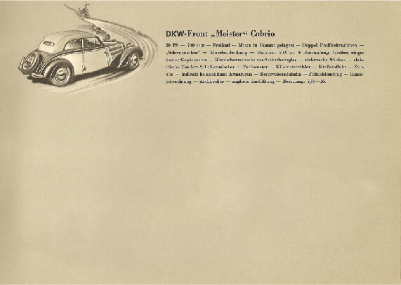 Advertisement for DKW car from a 1939 sales brochure