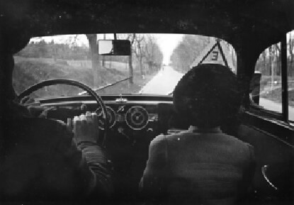 Driving in a car in rural Hungary in 1940