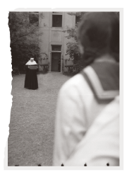 Hungarian school girl observing nun