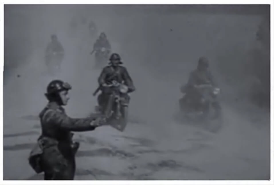 Hungarian motorcycle brigade as they entered Transylvanian territory occupied by Hungarian troops in September 1940