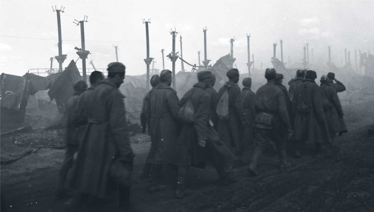 Soldiers marching on the Eastern Front