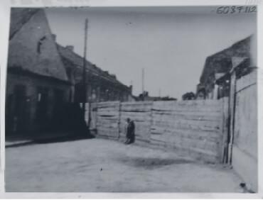 Barrier indicating Jewish ghetto in rural Hungary in 1944