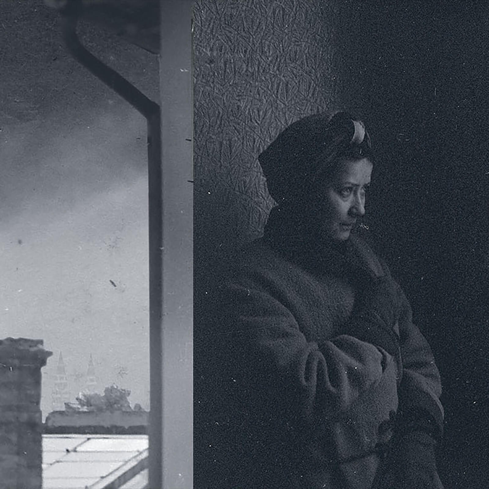 A woman looks out on the destruction in Budapest in 1944