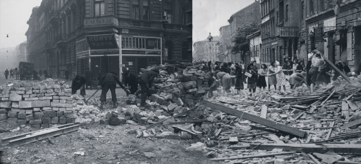 Cleaning up Budapest destruction after the Siege in 1945