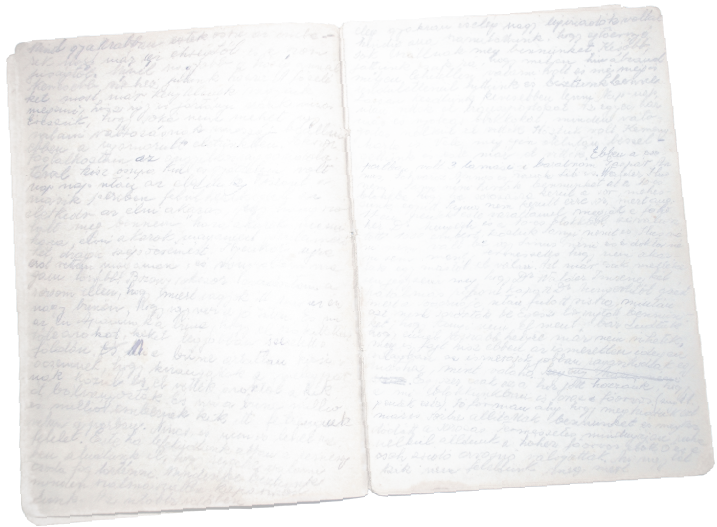 A page from Júlia Bauer's journal written in Auschwitz, Allendorf, and Melsungen in 1944