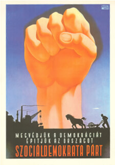 Heroic Realism Communist Party poster showing a raised first against the backdrop silhouette of factories and farming scenes