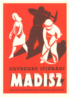 Heroic Realism Communist Party poster showing a woman with books next to an ironworker and a farmer