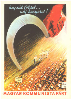 Heroic Realism Communist Party poster showing a large sickle in the foreground with a farming scene in the background