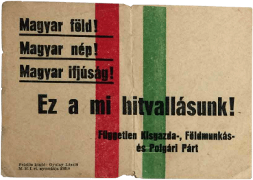 Zoltán Tildy campaign pamphlet from 1945