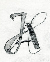 Typographic lettering by Ari and an example of her artwork
