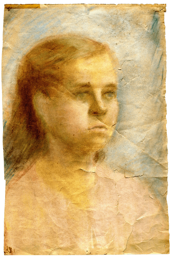 A chalk drawing of young girl on paper and an example of Ari's work