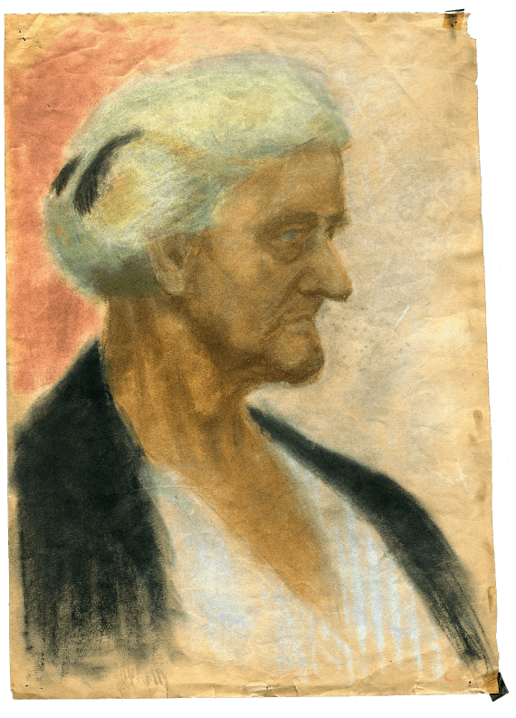 A chalk drawing of elderly woman on paper and an example of Ari's artwork
