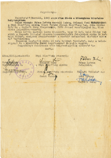 Signed document transferring 77 percent of Fábos property to the state in 1949