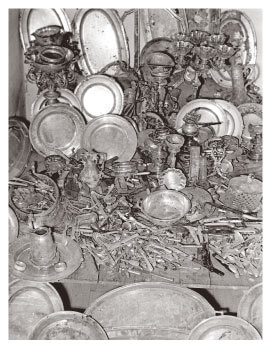 Confiscated silverware resulting from a police search during the Rákosi era
