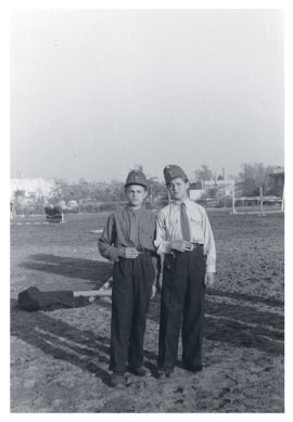 Two young pioneers in uniform during the Rákosi era