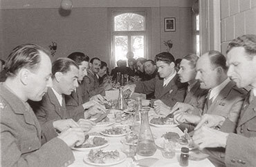 Communist policemen dining in police club in Hungary in 1948
