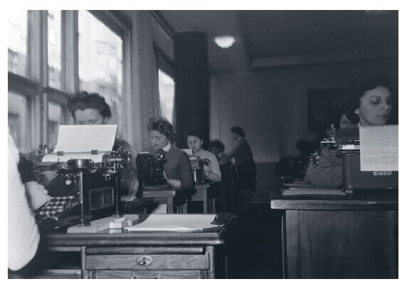 Secretaries in a typing pool in Hungary in the 1950s