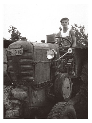 Farmer on tractor in Hungary
