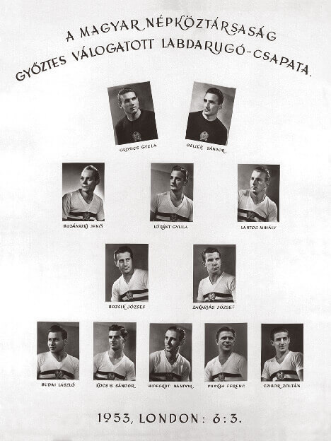 Hungarian football team's publicity pamphlet in 1953