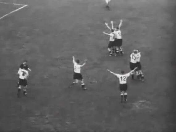 Hungarian football team vs. West Germany during the European World Cup final in Bern Switzerland in 1954 with West German victorious
