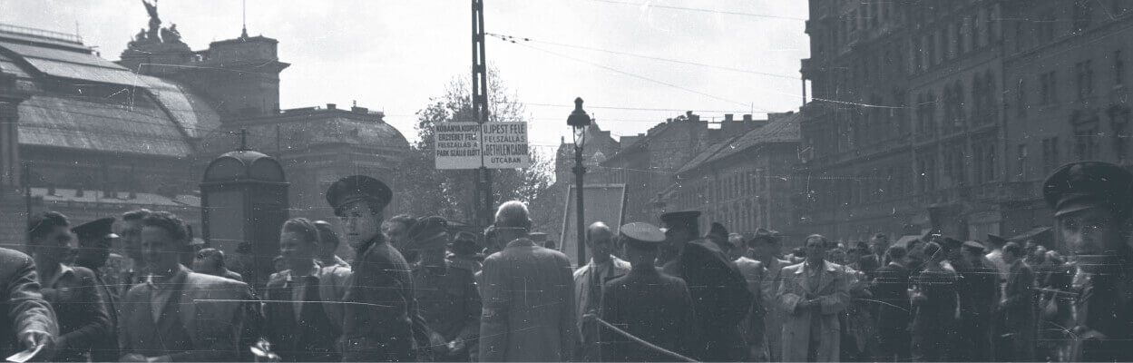 Crowd gathering at Baross Square in Budapest in 1953