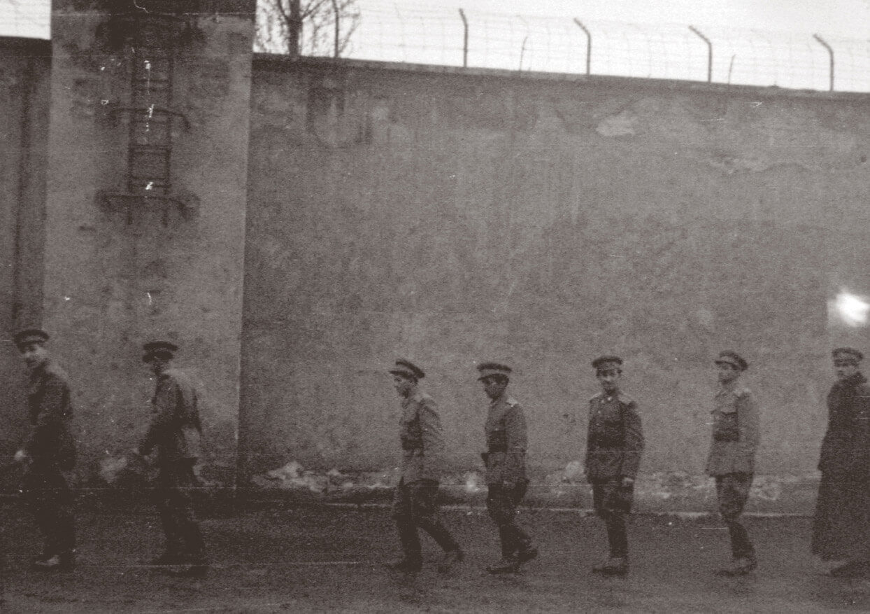 Soldiers in prison courtyard in Hungary in 1954