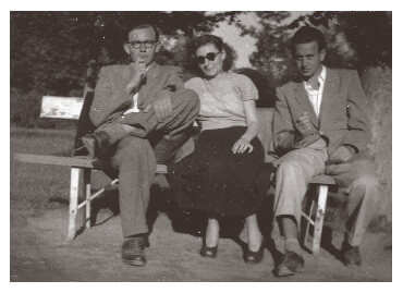 Gyula and Ari and their cousin Géza on a park bench by Lake Balaton around 1956