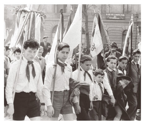 Young pioneer parade in Hungary 1955