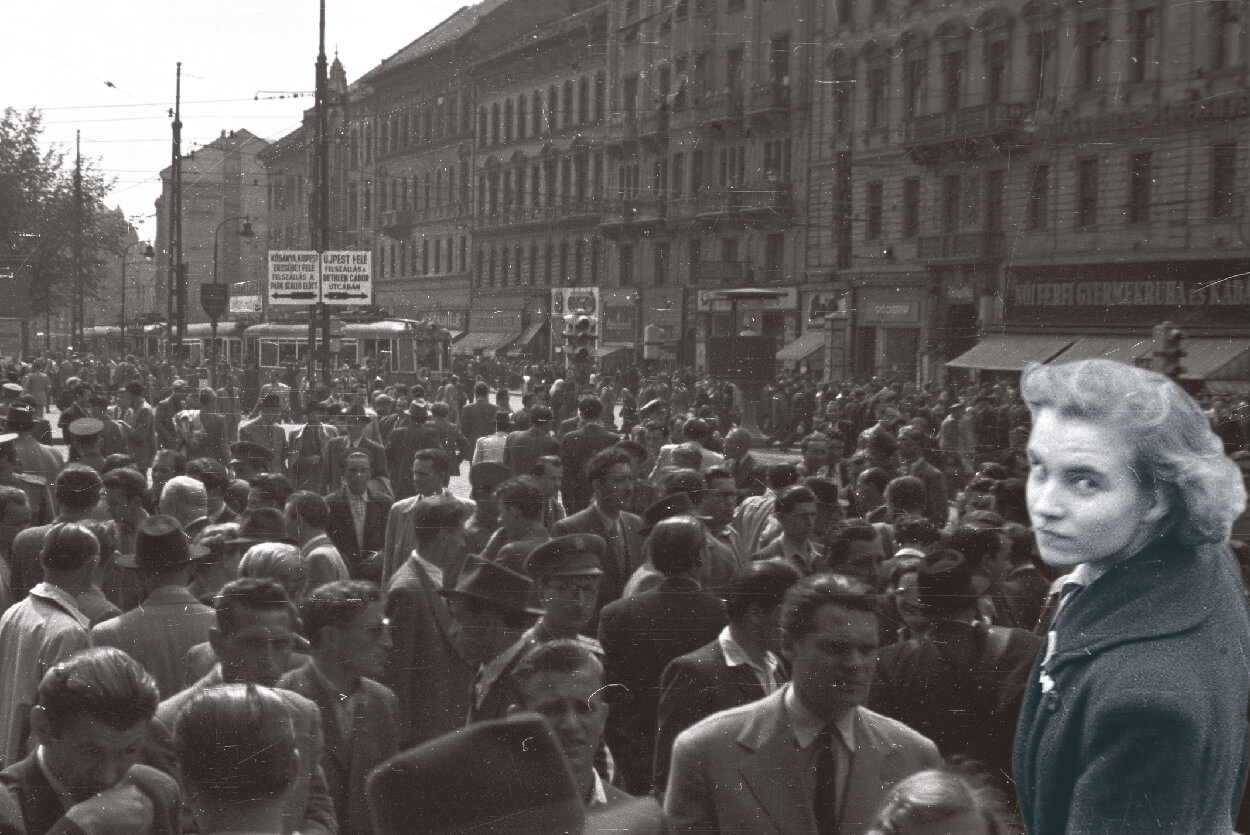 Crowd assembled at Baross Tér in Budapest Hungary 1953