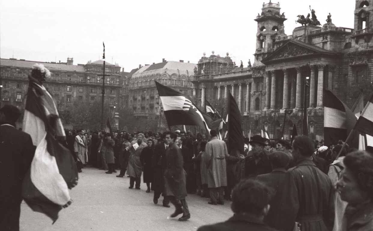 Protesters in Kossuth Square during the 1956 Hungarian Revolution