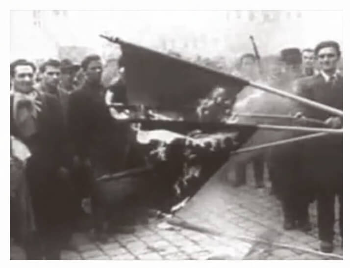 video footage of freedom fighters burning flags
