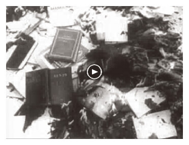 Video footage showing the freedom fighters burning books during the 1956 Hungarian revolution